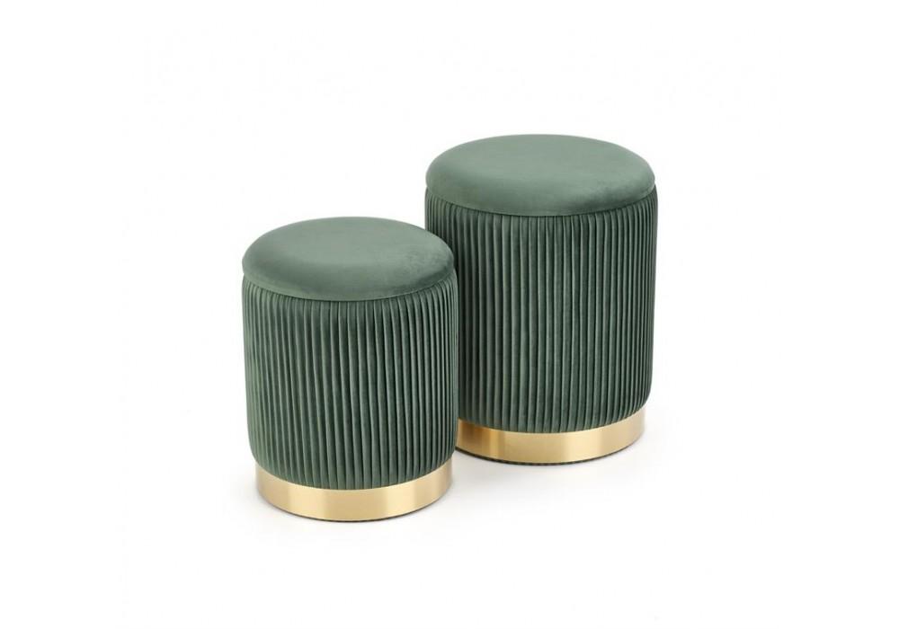 Комплект HALMAR MONTY (2 пуфа) темно-зеленый/золотой