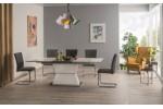 Стол обеденный SIGNAL MUSKAT 160 раскладной, белый/серый лак, 160-220/90/76