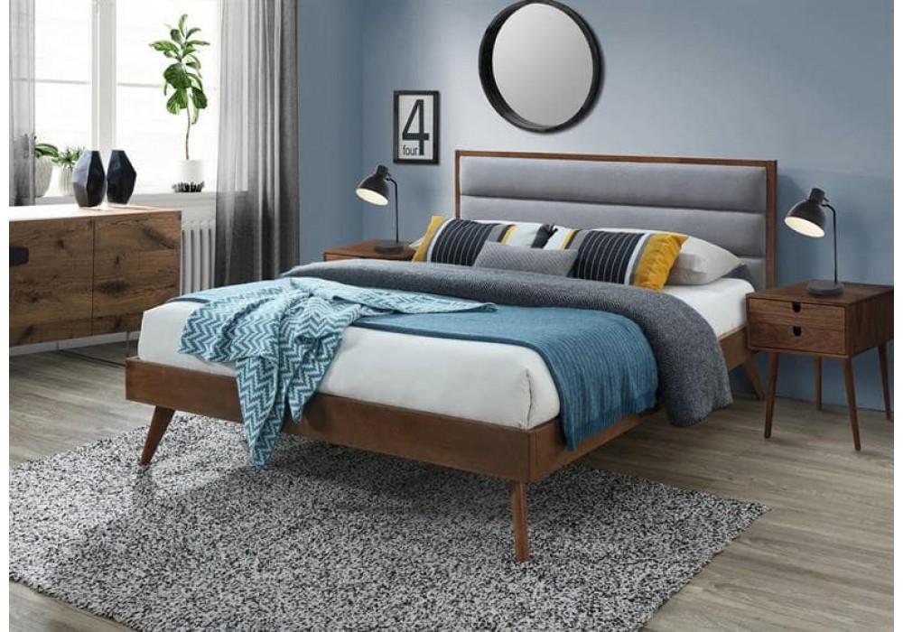 Кровать HALMAR ORLANDO серый/орех, 160/200