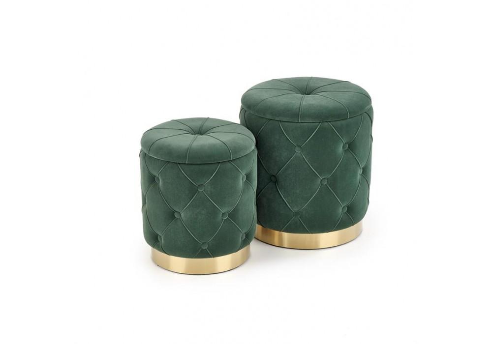 Комплект HALMAR POLLY (2 пуфа) темно-зеленый/золотой