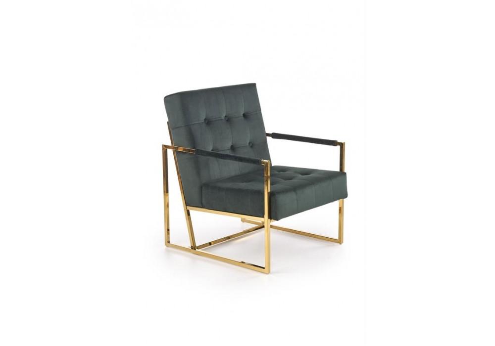 Кресло HALMAR PRIUS темно-зеленый/золотой