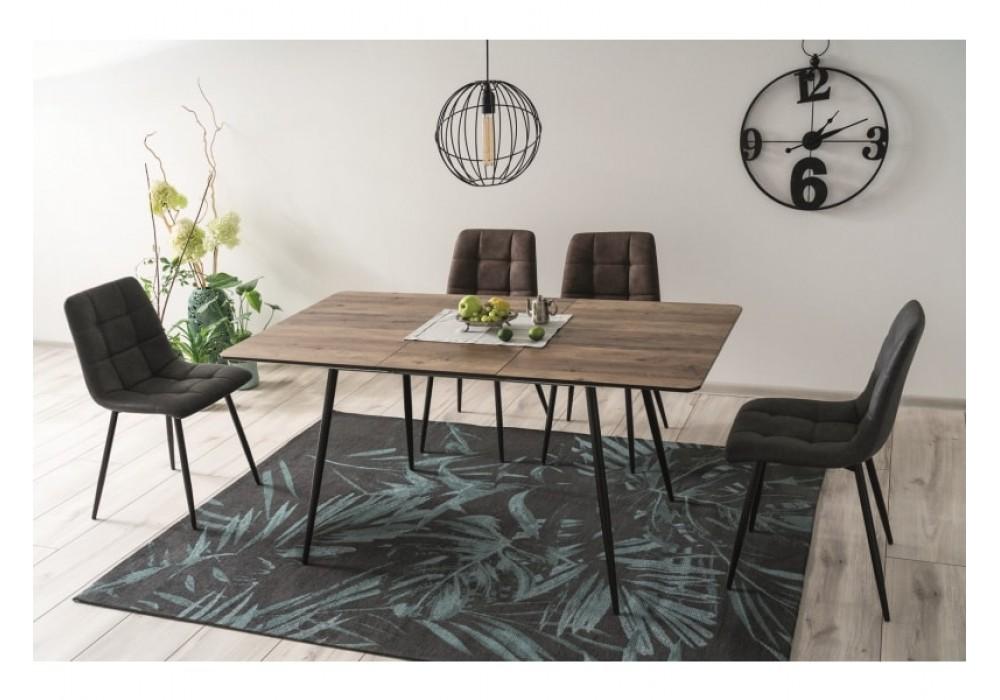 Стол обеденный SIGNAL REMUS II 120, раскладной, орех/черный мат, 120-160/80/76