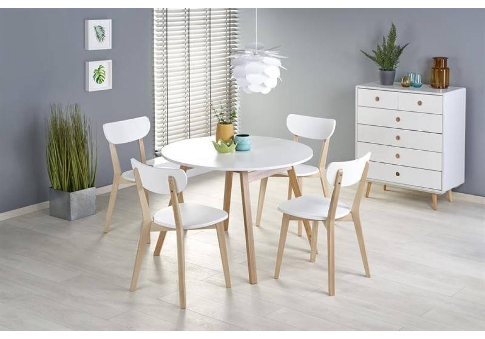 Стол обеденный HALMAR RUBEN раскладной, белый матовый/натуральный, 102-142/102/73