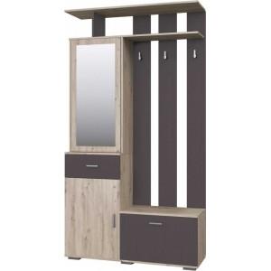 Шкаф-вешалка с зеркалом 01 Имидж (Дуб Бонифаций/Вольфрам) фабрика Браво Мебель