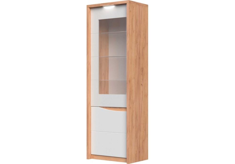 Шкаф-витрина  Сицилия (Дуб Крафт Золотой/Белый Матовый)  фабрика Браво Мебель