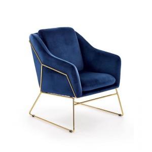 Кресло HALMAR SOFT 3 темно-синий/золотой