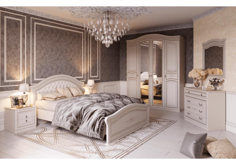 Спальня МС Николь Мебельград (Ясень жемчужный/Ваниль )