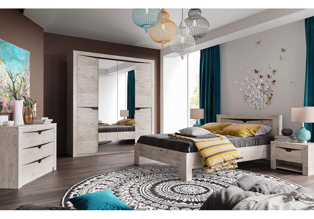Спальня МС Соренто Мебельград (Дуб бонифаций/Кофе структурный матовый )