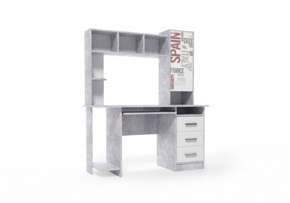 Стол компьютерный К №6 Цемент светлый / Белый SV-МЕБЕЛЬ