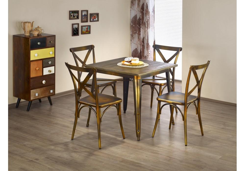 Стол обеденный Halmar MAGNUM, квадрат (состаренная медь)