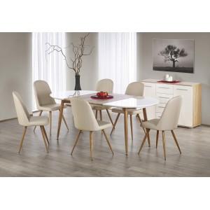 Стол обеденный HALMAR EDWARD раскладной, белый/дуб медовый, 120-200/100/75