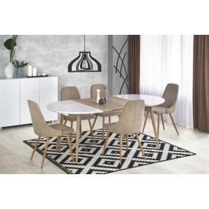 Стол обеденный HALMAR EDWARD раскладной, белый/дуб сан ремо, 120-200/100/75