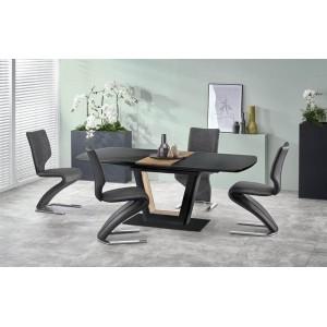 Стол обеденный HALMAR FARREL раскладной, черный/орех, 160-200/90/77