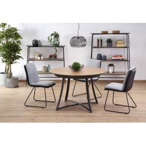 Стол обеденный HALMAR MORETTI раскладной, дуб натуральный/черный, 118-148/118/76