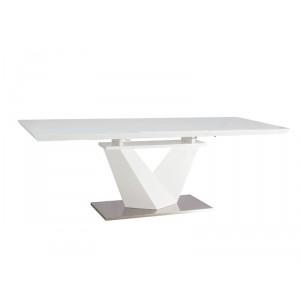 Стол обеденный SIGNAL ALARAS III раскладной, белый лак\белый 160-220/90/75