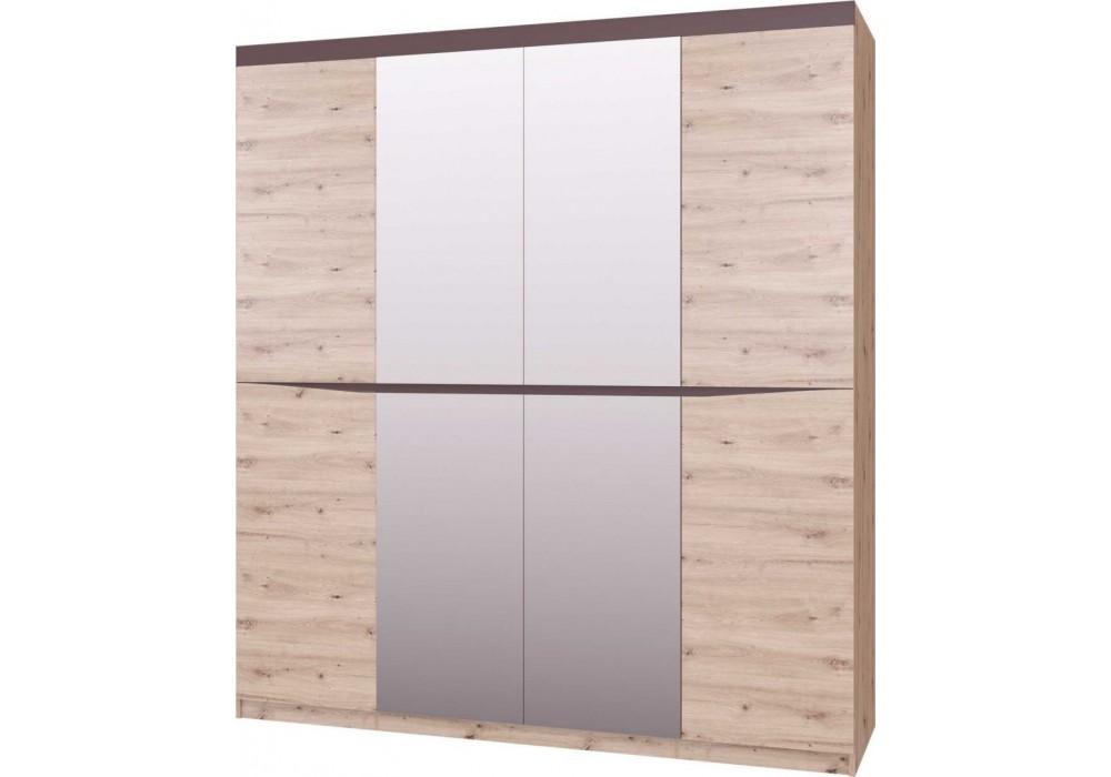 Шкаф четырехдверный ШР-4 Тиана с зеркалом   (Дуб Бонифаций / Вольфрам)   фабрика Браво Мебель