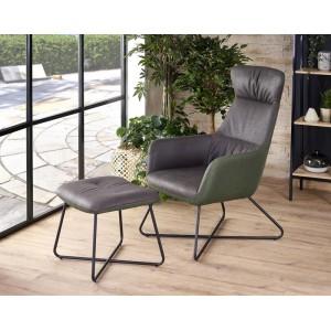 Комплект HALMAR TINTO (кресло для отдыха + подставка для ног) темно-серый/темно-зеленый/черный