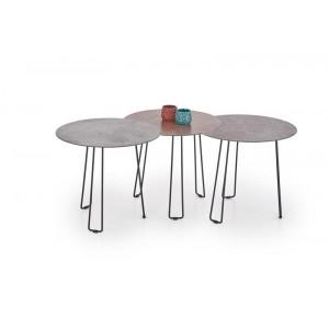 Комплект HALMAR TRIPLE (3 стола журнальных) серый/коричневый