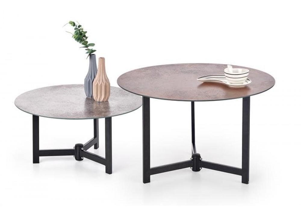 Комплект HALMAR TWINS (2 стола журнальных) серый/коричневый, 60/30, 70/43