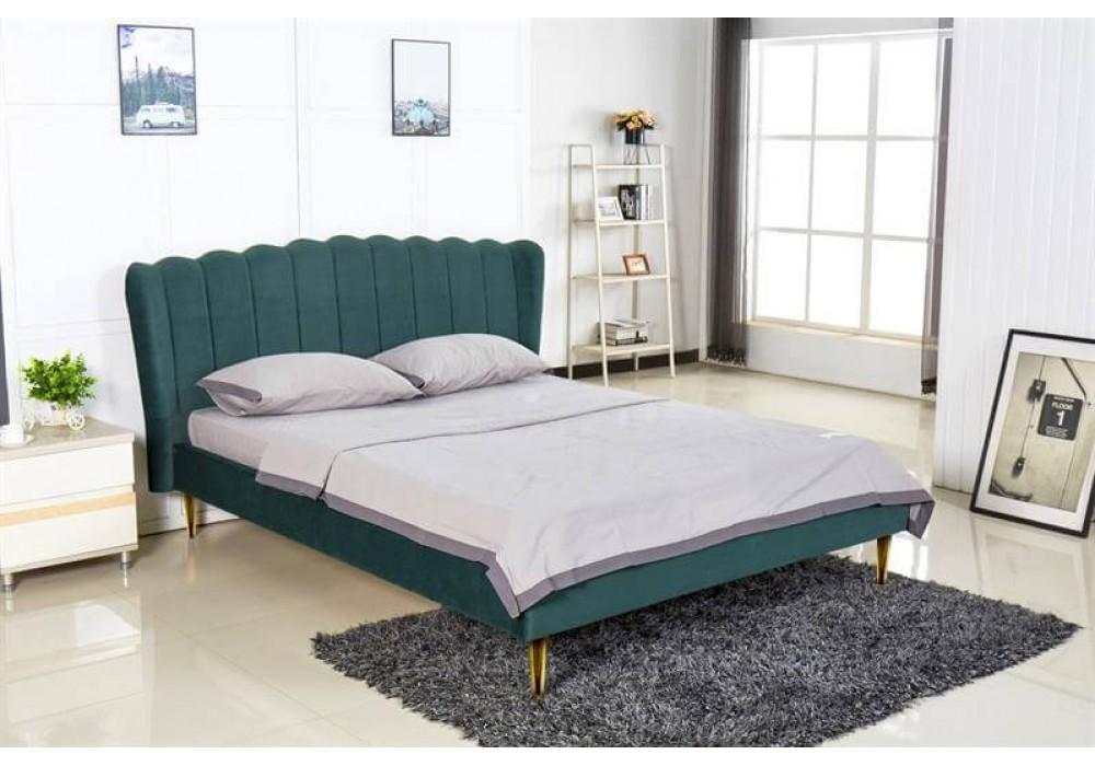 Кровать HALMAR VALVERDE 160 темно-зеленый/золотой