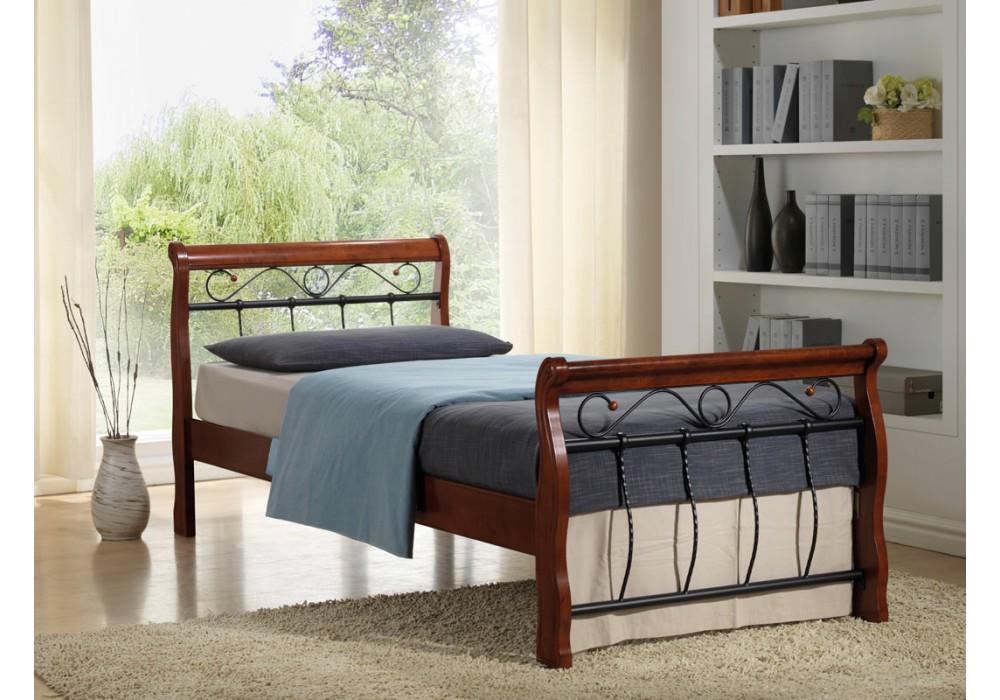 Кровать SIGNAL VENECJA BIS 1OS. дерево\металл черешня ант. 90/200