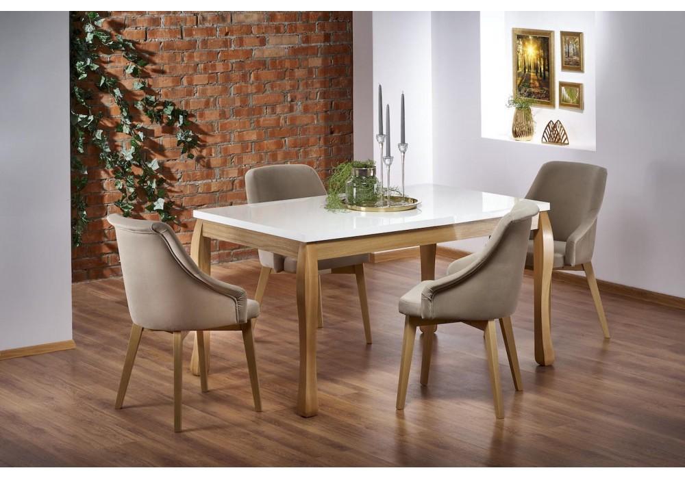 Стол обеденный Halmar DONOVAN, раскладной (белый/дуб натуральный)