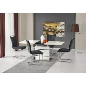 Стол обеденный Halmar NORD, раскладной (бело-черный)