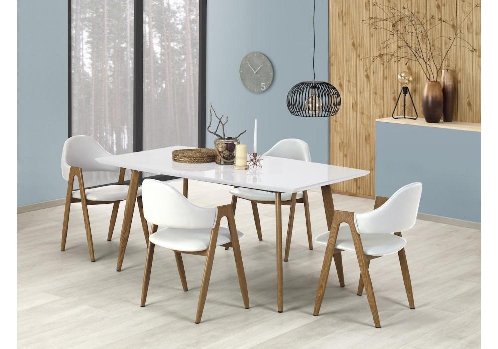 Стол обеденный Halmar RUTEN раскладной (белый/дуб медовый)