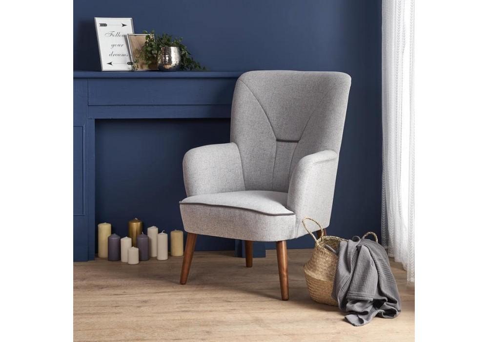Кресло Halmar BISHOP (светло-серый/орех)