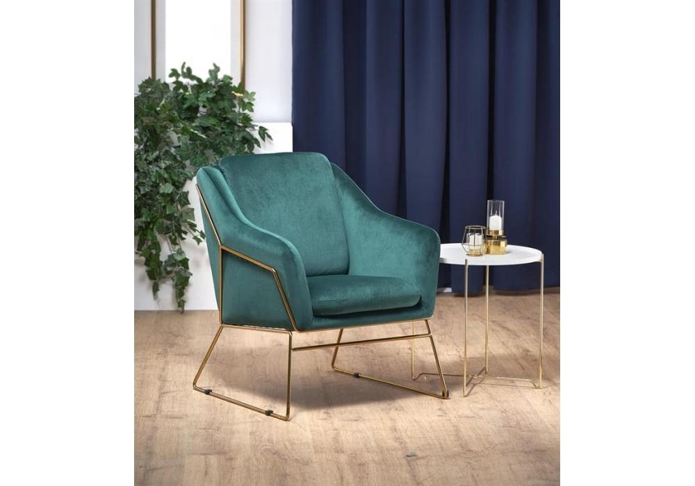 Кресло Halmar SOFT 3 (темно-зеленый/золотой)