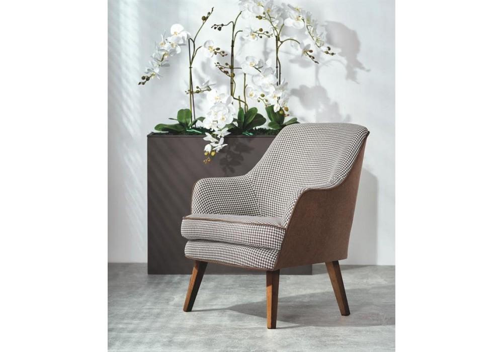 Кресло Halmar TELAVIV (черно-белый/коричневый/орех)